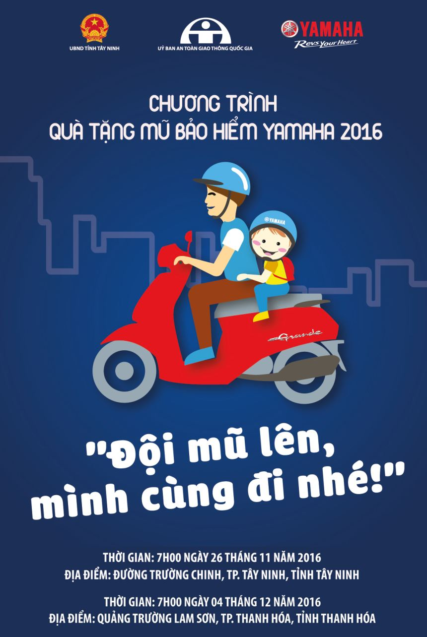 """""""Quà tặng mũ bảo hiểm Yamaha 2016 – Đội mũ lên, mình cùng đi nhé"""" – Món quà ý nghĩa dành tặng trẻ em Việt Nam"""